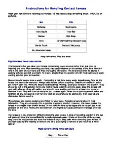 Instructions for Handling Contact Lenses
