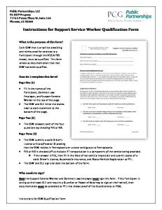 Instructions for Support Service Worker Qualification Form