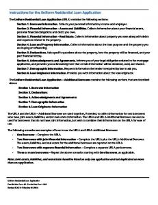 Instructions for the Uniform Residential Loan Application