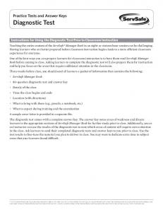 Instructions for Using the Diagnostic Test Prior to Classroom Instruction