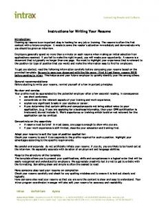 Instructions for Writing Your Resume