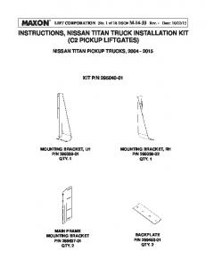 INSTRUCTIONS, NISSAN TITAN TRUCK INSTALLATION KIT (C2 PICKUP LIFTGATES)