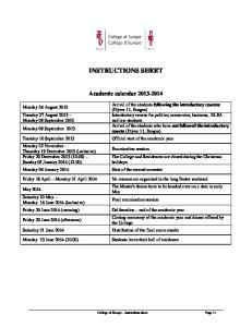 INSTRUCTIONS SHEET. Academic calendar