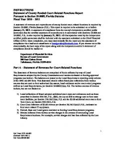 INSTRUCTIONS Statement of County Funded Court-Related Functions Report Pursuant to Section , Florida Statutes Fiscal Year
