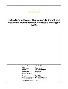 Instructions to Master - Supplement to GOMO and Operations manual for offshore vessels working on NCS