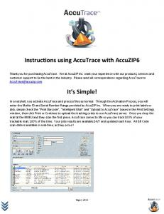 Instructions using AccuTrace with AccuZIP6. It s Simple!