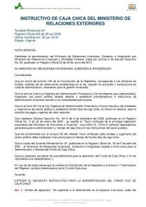 INSTRUCTIVO DE CAJA CHICA DEL MINISTERIO DE RELACIONES EXTERIORES