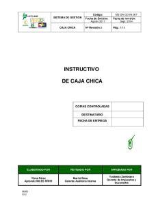 INSTRUCTIVO DE CAJA CHICA