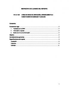 INSTRUCTIVO DE LLENADO DEL REPORTE: