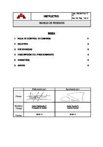 INSTRUCTIVO MANEJO DE RESIDUOS