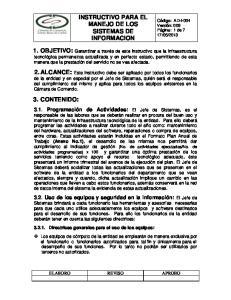 INSTRUCTIVO PARA EL MANEJO DE LOS SISTEMAS DE INFORMACION