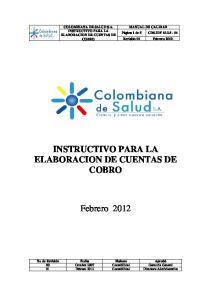 INSTRUCTIVO PARA LA ELABORACION DE CUENTAS DE COBRO
