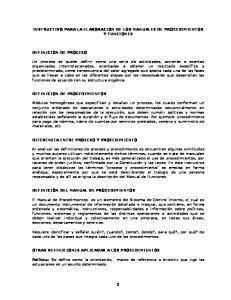 INSTRUCTIVO PARA LA ELABORACION DE LOS MANUALES DE PROCEDIMIENTOS Y FUNCIONES
