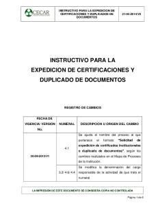 INSTRUCTIVO PARA LA EXPEDICION DE CERTIFICACIONES Y DUPLICADO DE DOCUMENTOS
