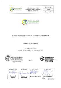 INSTRUCTIVO PARA LA TOMA DE MUESTRAS DE LECHE CRUDA