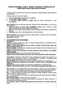 INSTRUCTIVO PARA LLENAR EL REPORTE MENSUAL DE PRODUCCION DE SERVICIOS DE SALUD MATERNO PERINATAL