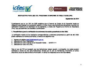 INSTRUCTIVO PARA USO DEL PROGRAMA DE INFORME DE RESULTADOS (PIR)