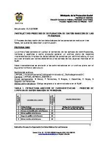 INSTRUCTIVO PROCESO DE DEPURACION DE DATOS BASICOS DE LAS PERSONAS
