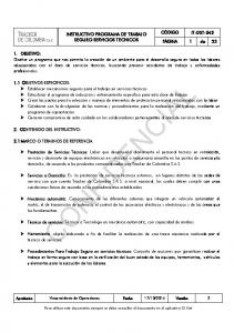 INSTRUCTIVO PROGRAMA DE TRABAJO SEGURO SERVICIOS TECNICOS