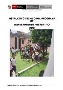 INSTRUCTIVO TECNICO DEL PROGRAMA DE MANTENIMIENTO PREVENTIVO 2010