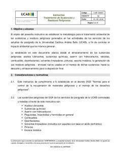 Instructivo Tratamiento de Sustancias y Residuos Peligrosos