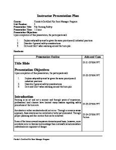 Instructor Presentation Plan