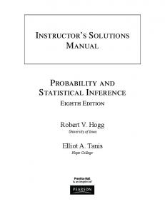 Instructor s Solutions Manual. Probability and Statistical Inference