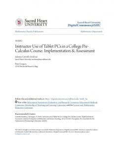 Instructor Use of Tablet PCs in a College Pre- Calculus Course: Implementation & Assessment