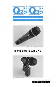 INSTRUMENT MIC OWNERS MANUAL Q3 INSTRUMENT MIC