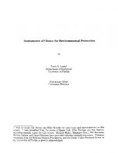Instruments of Choice for Environmental Protection
