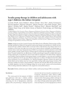 Insulin pump therapy in children and adolescents with type 1 diabetes: the italian viewpoint
