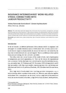 INSURANCE INTERMEDIARIES WORK-RELATED STRESS: CONNECTIONS WITH LABOUR PRODUCTIVITY