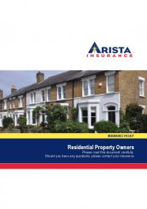 INSURANCE POLICY Residential Property Owners