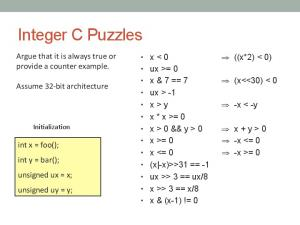 Integer C Puzzles. Argue that it is always true or provide a counter example