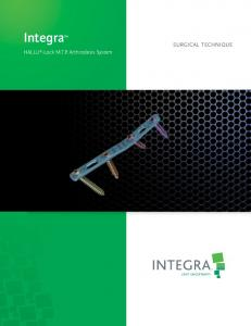 Integra. HALLU -Lock M.T.P. Arthrodesis System SURGICAL TECHNIQUE