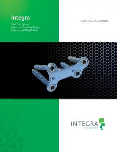 Integra. Total Foot System Metatarsal Opening Wedge Osteotomy (MOWO) Plate SURGICAL TECHNIQUE