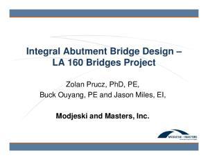 Integral Abutment Bridge Design LA 160 Bridges Project