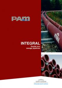 INTEGRAL. Ductile iron sewage pipelines SAINT-GOBAIN PIPELINES SOUTH AFRICA