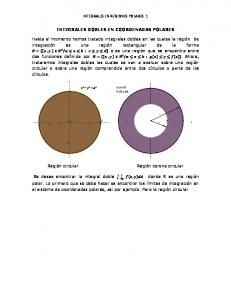 INTEGRALES EN REGIONES POLARES 1 INTEGRALES DOBLES EN COORDENADAS POLARES