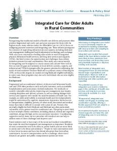 Integrated Care for Older Adults in Rural Communities