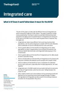 Integrated care. What is it? Does it work? What does it mean for the NHS?