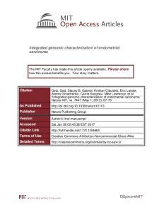 Integrated genomic characterization of endometrial carcinoma