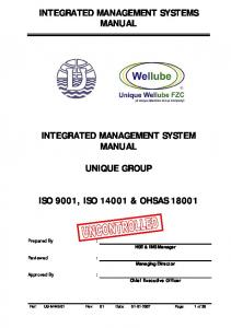 INTEGRATED MANAGEMENT SYSTEMS MANUAL