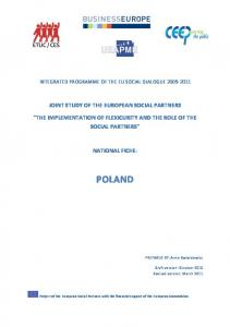 INTEGRATED PROGRAMME OF THE EU SOCIAL DIALOGUE JOINT STUDY OF THE EUROPEAN SOCIAL PARTNERS