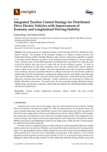 Integrated Traction Control Strategy for Distributed Drive Electric Vehicles with Improvement of Economy and Longitudinal Driving Stability