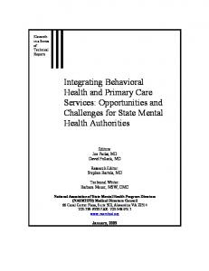 Integrating Behavioral Health and Primary Care Services: Opportunities and Challenges for State Mental Health Authorities