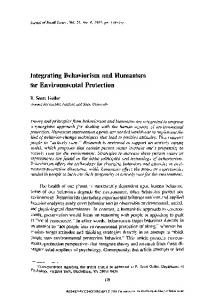 Integrating Behaviorism and Humanism for Environmental Protection