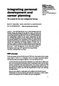 Integrating personal development and career planning