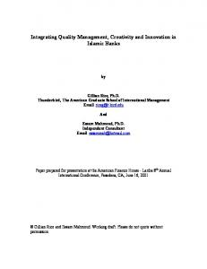 Integrating Quality Management, Creativity and Innovation in Islamic Banks