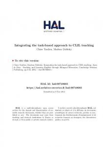 Integrating the task-based approach to CLIL teaching